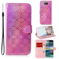 Laser Circle Shining Leather Wallet Phone Case for Sony Xperia 10 / Xperia XA3 - Pink