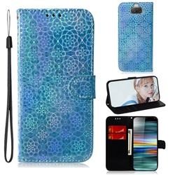 Laser Circle Shining Leather Wallet Phone Case for Sony Xperia 10 / Xperia XA3 - Blue