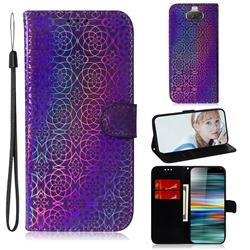 Laser Circle Shining Leather Wallet Phone Case for Sony Xperia 10 / Xperia XA3 - Purple