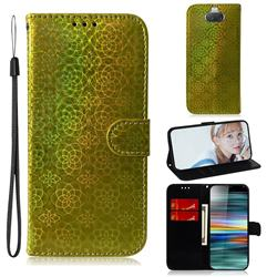 Laser Circle Shining Leather Wallet Phone Case for Sony Xperia 10 / Xperia XA3 - Golden