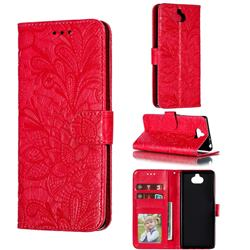 Intricate Embossing Lace Jasmine Flower Leather Wallet Case for Sony Xperia 10 / Xperia XA3 - Red