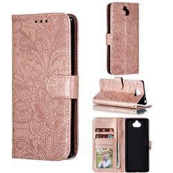 Intricate Embossing Lace Jasmine Flower Leather Wallet Case for Sony Xperia 10 / Xperia XA3 - Rose Gold