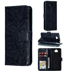 Intricate Embossing Lace Jasmine Flower Leather Wallet Case for Sony Xperia 10 / Xperia XA3 - Dark Blue