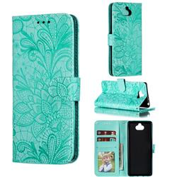 Intricate Embossing Lace Jasmine Flower Leather Wallet Case for Sony Xperia 10 / Xperia XA3 - Green