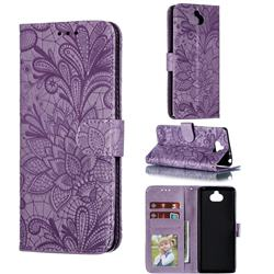 Intricate Embossing Lace Jasmine Flower Leather Wallet Case for Sony Xperia 10 / Xperia XA3 - Purple