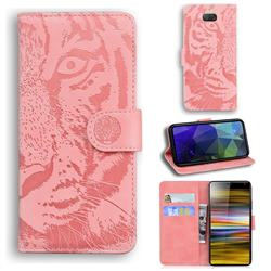 Intricate Embossing Tiger Face Leather Wallet Case for Sony Xperia 10 / Xperia XA3 - Pink