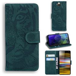 Intricate Embossing Tiger Face Leather Wallet Case for Sony Xperia 10 / Xperia XA3 - Green