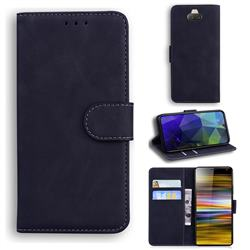 Retro Classic Skin Feel Leather Wallet Phone Case for Sony Xperia 10 / Xperia XA3 - Black