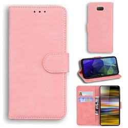 Retro Classic Skin Feel Leather Wallet Phone Case for Sony Xperia 10 / Xperia XA3 - Pink