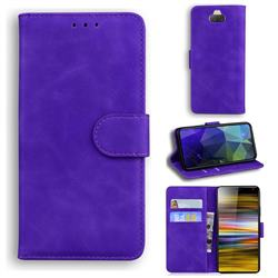 Retro Classic Skin Feel Leather Wallet Phone Case for Sony Xperia 10 / Xperia XA3 - Purple