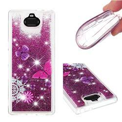 Purple Flower Butterfly Dynamic Liquid Glitter Quicksand Soft TPU Case for Sony Xperia 10 Plus / Xperia XA3 Ultra