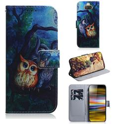 Oil Painting Owl PU Leather Wallet Case for Sony Xperia 10 Plus / Xperia XA3 Ultra