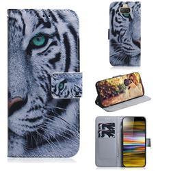 White Tiger PU Leather Wallet Case for Sony Xperia 10 Plus / Xperia XA3 Ultra