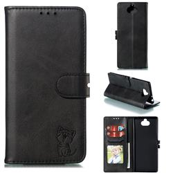 Embossing Happy Cat Leather Wallet Case for Sony Xperia 10 Plus / Xperia XA3 Ultra - Black