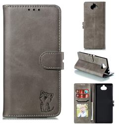 Embossing Happy Cat Leather Wallet Case for Sony Xperia 10 Plus / Xperia XA3 Ultra - Gray