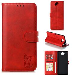 Embossing Happy Cat Leather Wallet Case for Sony Xperia 10 Plus / Xperia XA3 Ultra - Red