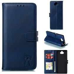 Embossing Happy Cat Leather Wallet Case for Sony Xperia 10 Plus / Xperia XA3 Ultra - Blue