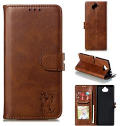 Embossing Happy Cat Leather Wallet Case for Sony Xperia 10 Plus / Xperia XA3 Ultra - Brown