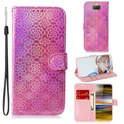 Laser Circle Shining Leather Wallet Phone Case for Sony Xperia 10 Plus / Xperia XA3 Ultra - Pink