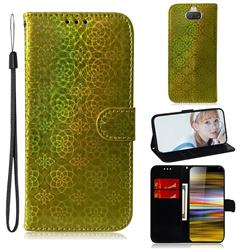 Laser Circle Shining Leather Wallet Phone Case for Sony Xperia 10 Plus / Xperia XA3 Ultra - Golden