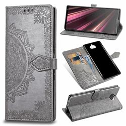 Embossing Imprint Mandala Flower Leather Wallet Case for Sony Xperia 10 Plus / Xperia XA3 Ultra - Gray