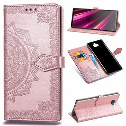 Embossing Imprint Mandala Flower Leather Wallet Case for Sony Xperia 10 Plus / Xperia XA3 Ultra - Rose Gold