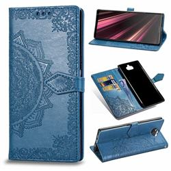Embossing Imprint Mandala Flower Leather Wallet Case for Sony Xperia 10 Plus / Xperia XA3 Ultra - Blue