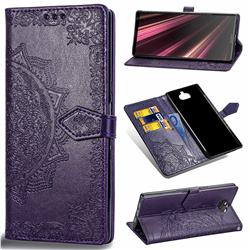 Embossing Imprint Mandala Flower Leather Wallet Case for Sony Xperia 10 Plus / Xperia XA3 Ultra - Purple