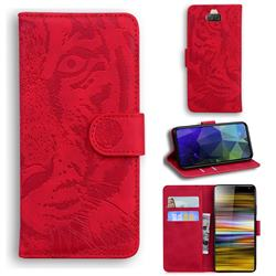 Intricate Embossing Tiger Face Leather Wallet Case for Sony Xperia 10 Plus / Xperia XA3 Ultra - Red