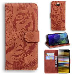 Intricate Embossing Tiger Face Leather Wallet Case for Sony Xperia 10 Plus / Xperia XA3 Ultra - Brown