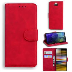 Retro Classic Skin Feel Leather Wallet Phone Case for Sony Xperia 10 Plus / Xperia XA3 Ultra - Red