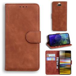 Retro Classic Skin Feel Leather Wallet Phone Case for Sony Xperia 10 Plus / Xperia XA3 Ultra - Brown
