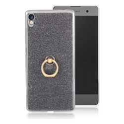 Luxury Soft TPU Glitter Back Ring Cover with 360 Rotate Finger Holder Buckle for Sony Xperia XA Ultra - Black