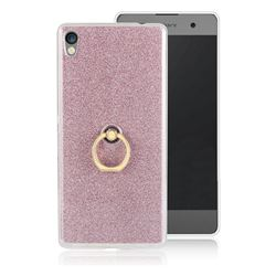 Luxury Soft TPU Glitter Back Ring Cover with 360 Rotate Finger Holder Buckle for Sony Xperia XA Ultra - Pink