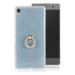 Luxury Soft TPU Glitter Back Ring Cover with 360 Rotate Finger Holder Buckle for Sony Xperia XA Ultra - Blue