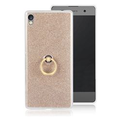 Luxury Soft TPU Glitter Back Ring Cover with 360 Rotate Finger Holder Buckle for Sony Xperia XA Ultra - Golden