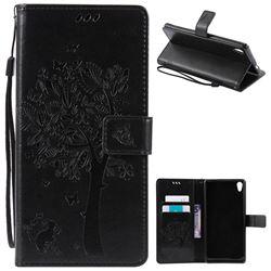 Embossing Butterfly Tree Leather Wallet Case for Sony Xperia XA Ultra / Sony XA Ultra Dual - Black