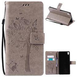 Embossing Butterfly Tree Leather Wallet Case for Sony Xperia XA Ultra / Sony XA Ultra Dual - Grey