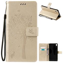 Embossing Butterfly Tree Leather Wallet Case for Sony Xperia XA Ultra / Sony XA Ultra Dual - Champagne