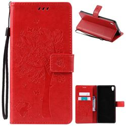 Embossing Butterfly Tree Leather Wallet Case for Sony Xperia XA Ultra / Sony XA Ultra Dual - Red