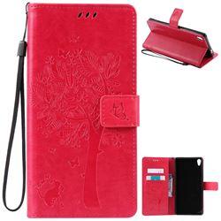 Embossing Butterfly Tree Leather Wallet Case for Sony Xperia XA Ultra / Sony XA Ultra Dual - Rose