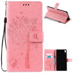Embossing Butterfly Tree Leather Wallet Case for Sony Xperia XA Ultra / Sony XA Ultra Dual - Pink