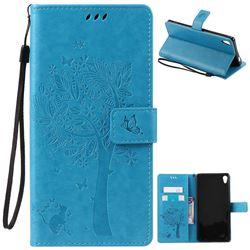 Embossing Butterfly Tree Leather Wallet Case for Sony Xperia XA Ultra / Sony XA Ultra Dual - Blue