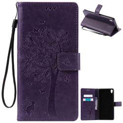 Embossing Butterfly Tree Leather Wallet Case for Sony Xperia XA Ultra / Sony XA Ultra Dual - Purple