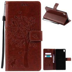 Embossing Butterfly Tree Leather Wallet Case for Sony Xperia XA Ultra / Sony XA Ultra Dual - Brown