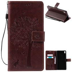 Embossing Butterfly Tree Leather Wallet Case for Sony Xperia XA Ultra / Sony XA Ultra Dual - Coffee