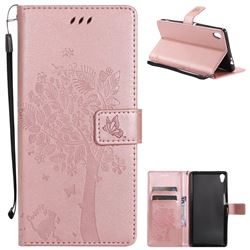 Embossing Butterfly Tree Leather Wallet Case for Sony Xperia XA Ultra - Rose Pink