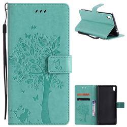 Embossing Butterfly Tree Leather Wallet Case for Sony Xperia XA Ultra - Cyan