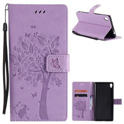 Embossing Butterfly Tree Leather Wallet Case for Sony Xperia XA Ultra - Violet