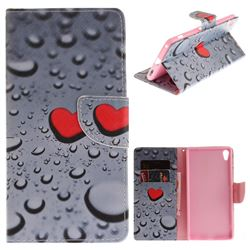 Heart Raindrop PU Leather Wallet Case for Sony Xperia XA Ultra